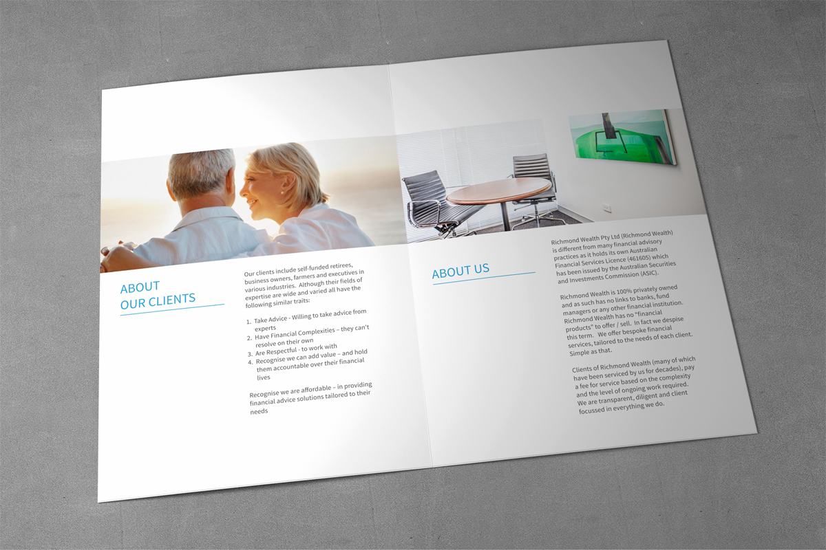 modern personable financial brochure design for richmond wealth by