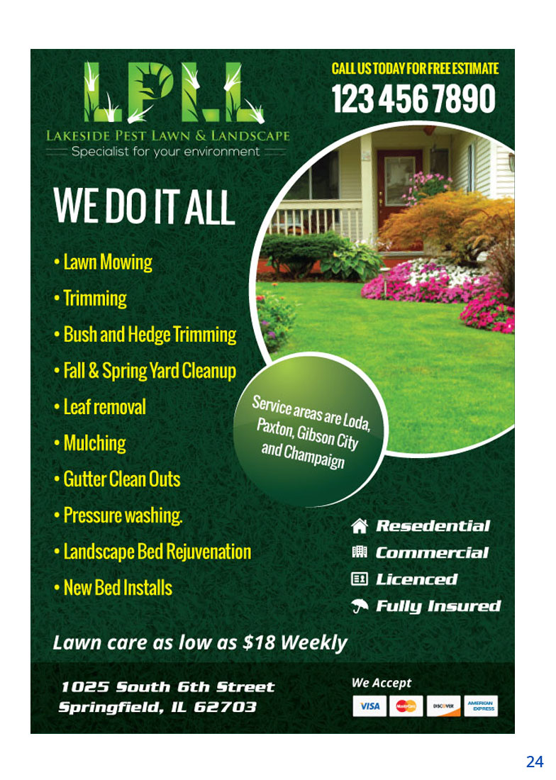 Colorful professional flyer design for lakeside pest lawn for Landscaping companies