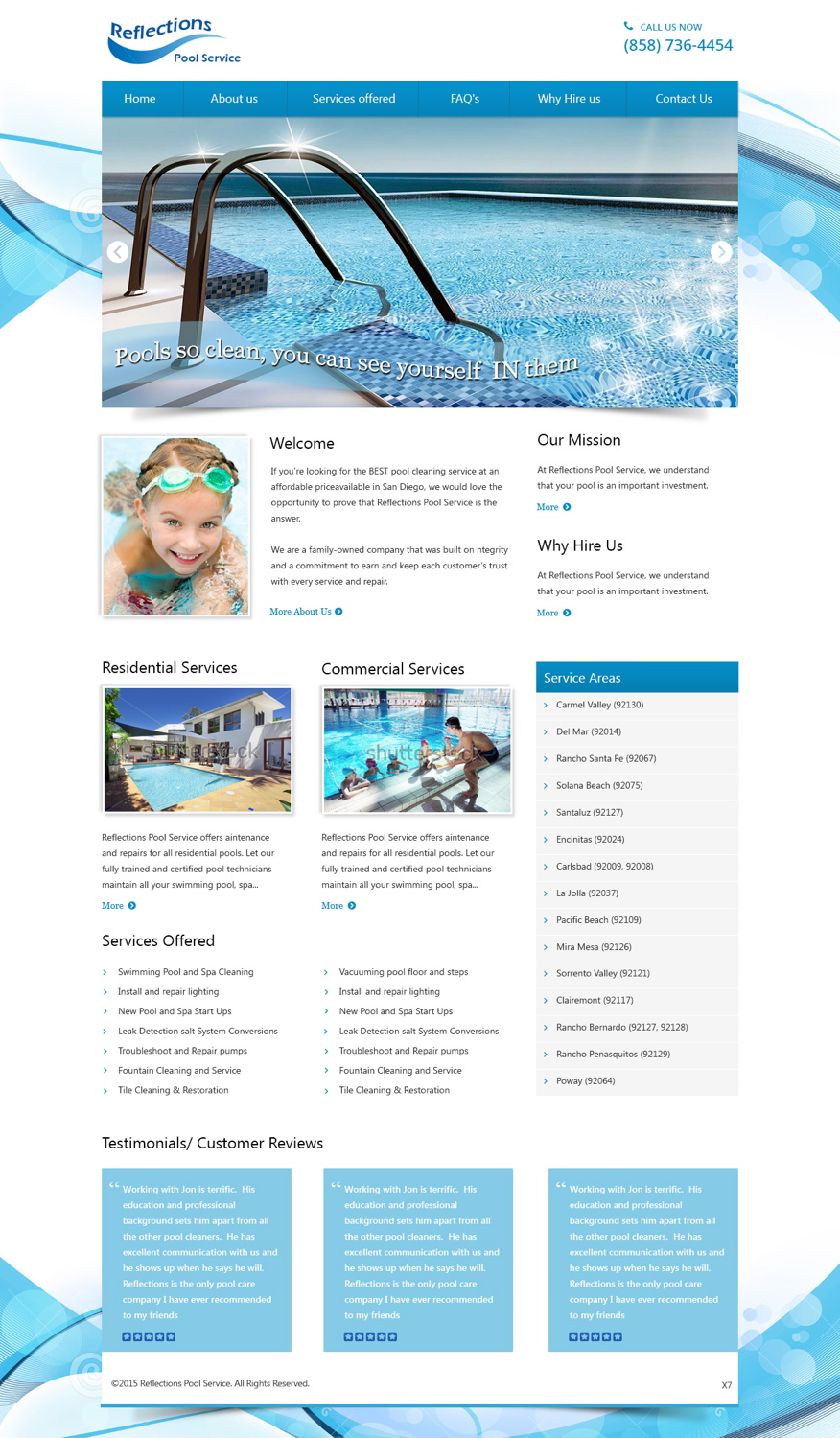 Fett professionell pool service web design for a for Pool design website