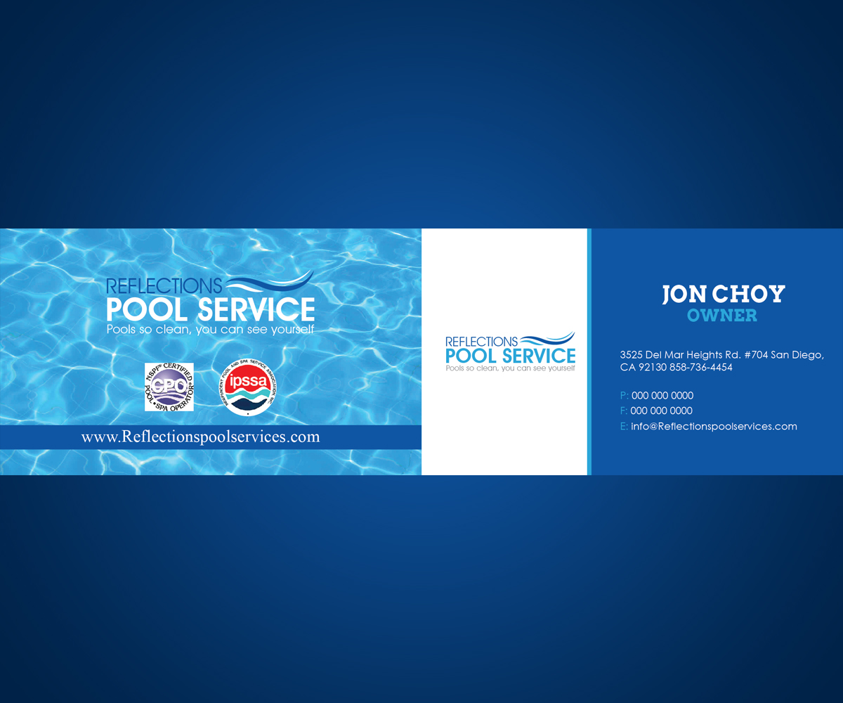 Modern professional business card design for jon choy by maxobiz business card design by maxobiz for swimming pool service business card needed colourmoves Choice Image