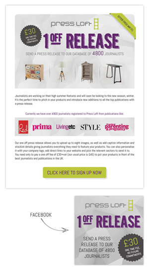 press release brief template - image or html template for an email sales campaign offer