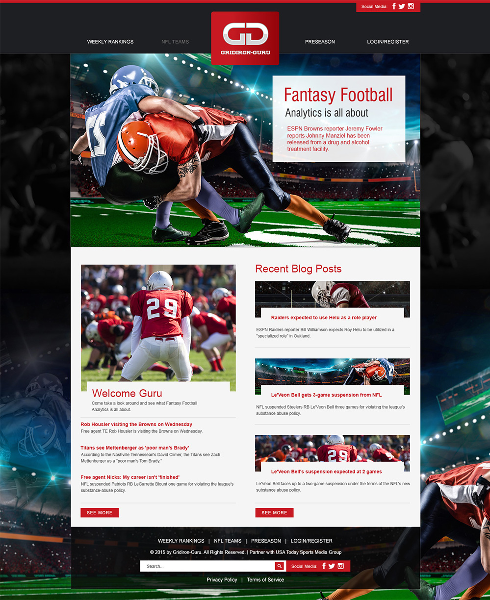 Masculine, Bold, Work Web Design for Gridiron-Guru INC by Esolbiz