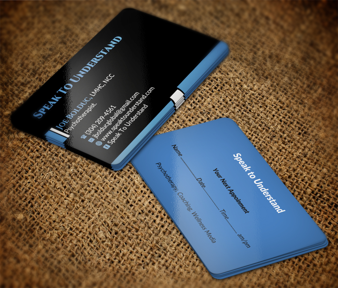 Modern serious business card design for joseph bolduc by business card design by nuhanenterprise for psychotherapy life coaching writer motivational speaker colourmoves