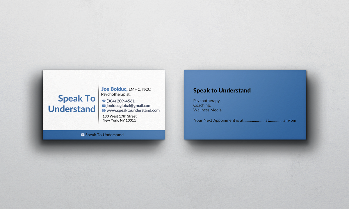 Modern serious business card design for joseph bolduc by afhun business card design by afhun for psychotherapy life coaching writer motivational speaker colourmoves