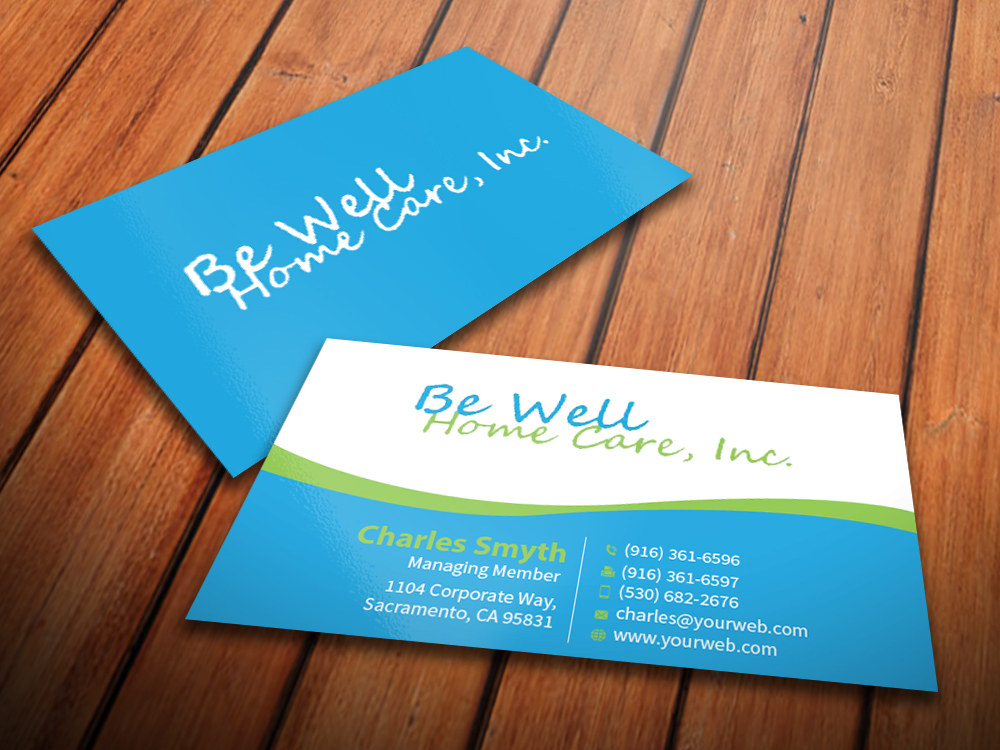 Home care business cards oxynux bold playful business card design for be well home care colourmoves
