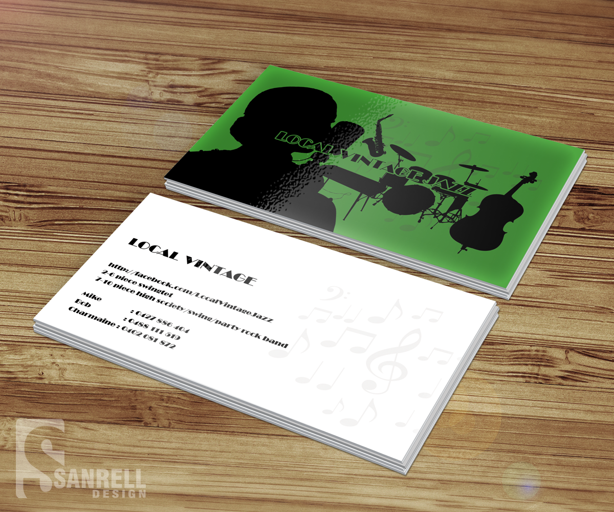 Business card design for robert boyne by sanrell for Band business card ideas