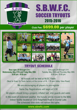 Flyer Design by deep_4evr - S.B.W.F.C. Soccer Tryouts 2015-2016