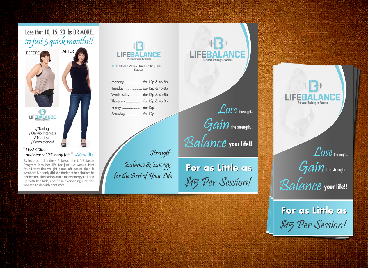 brochure design for boutiques - upmarket elegant boutique flyer design for lifebalance