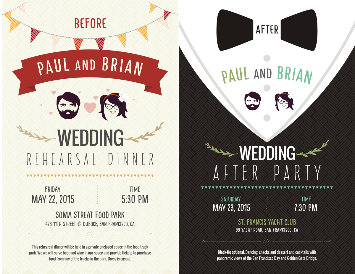 Elegant Playful Postcard Design for Paul Hogan by Theziners – After Rehearsal Dinner Party Invitations