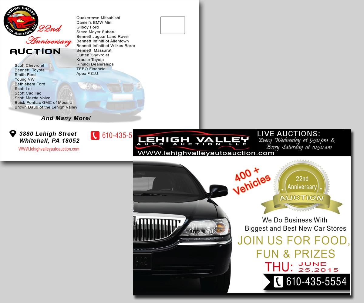 Bold, Modern, Automotive Postcard Design For LEHIGH VALLEY AUTO AUCTION In  United States | Design 6041025