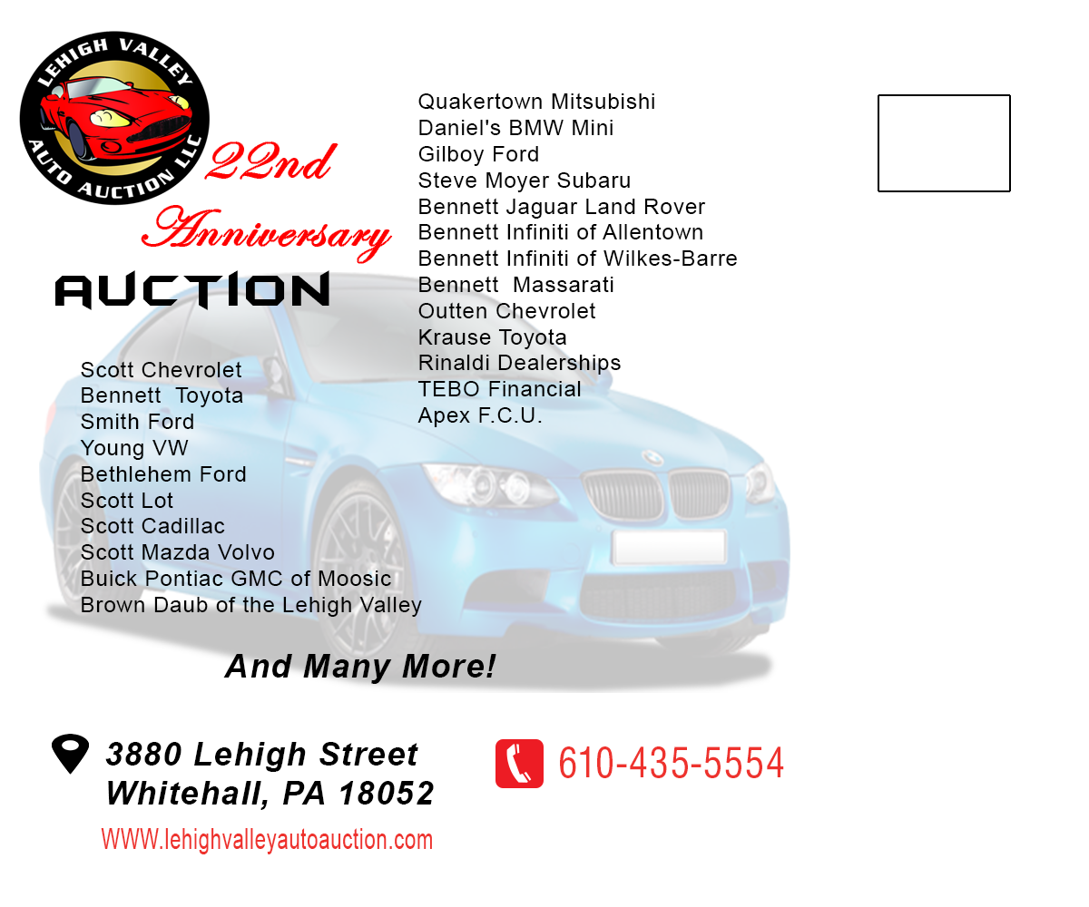 Bold, Modern, Automotive Postcard Design For LEHIGH VALLEY AUTO AUCTION In  United States | Design 6041048