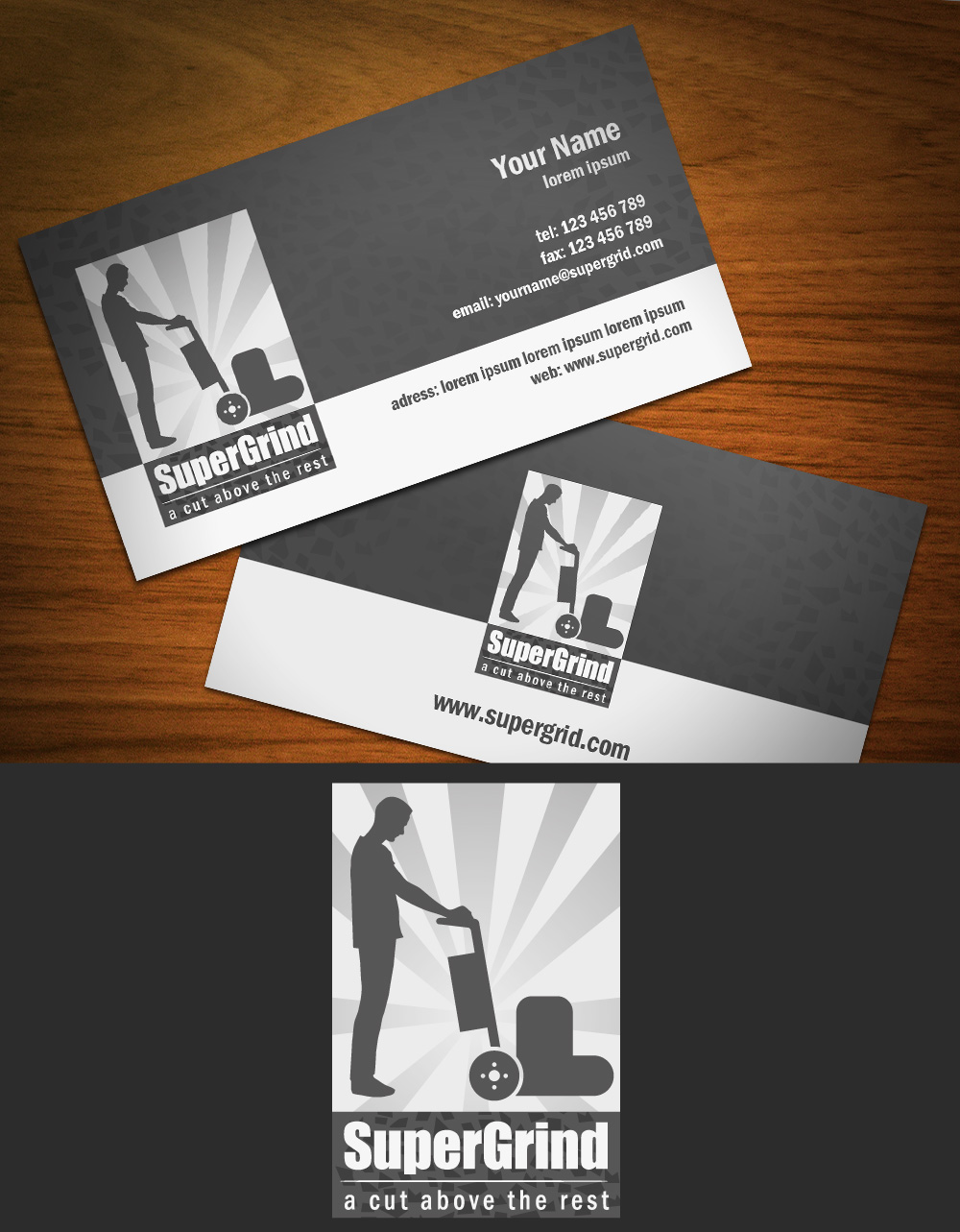 Concrete Grinding and Polishing company business card with