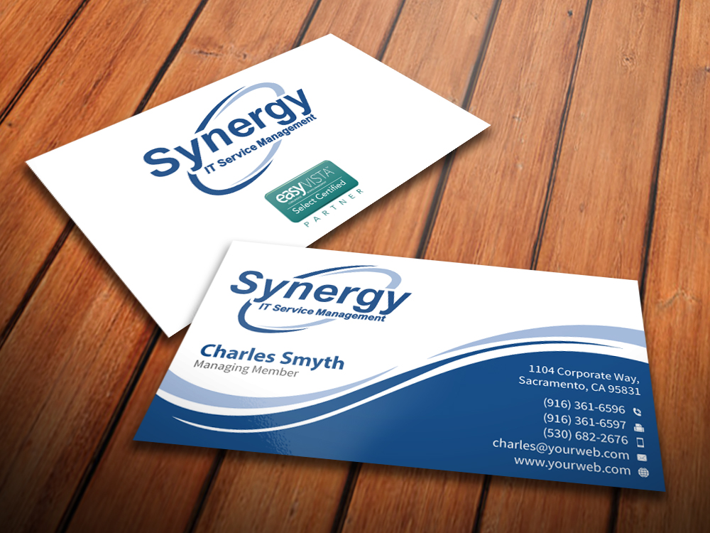 Professional serious software business card design for synergy business card design by mediaproductionart for synergy itsm inc design 5990052 reheart Gallery