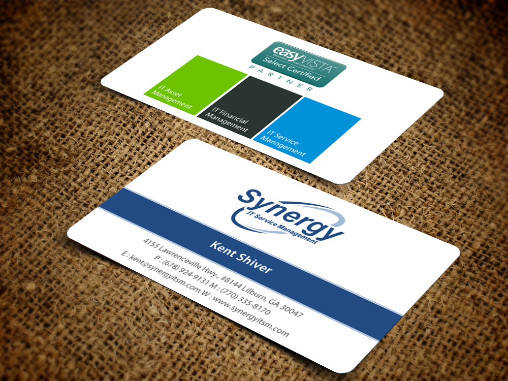 Professional serious software business card design for synergy business card design by pixelfountain for synergy itsm inc design 5989036 reheart Gallery