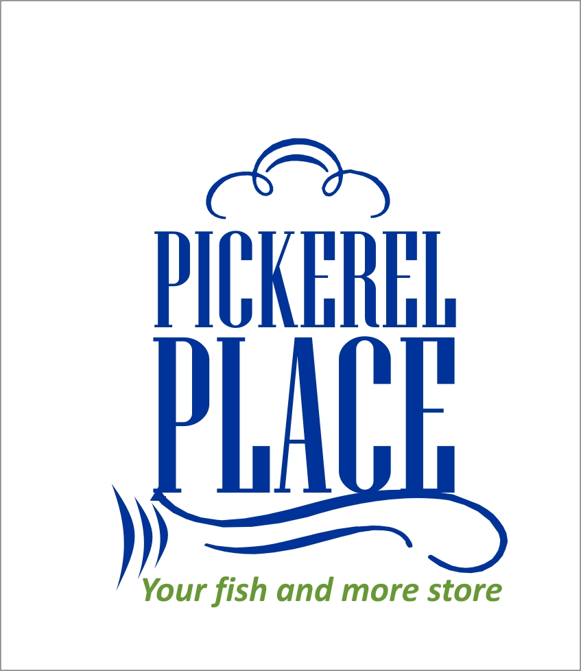 Traditional colorful store logo design for pickerel for Your fish store