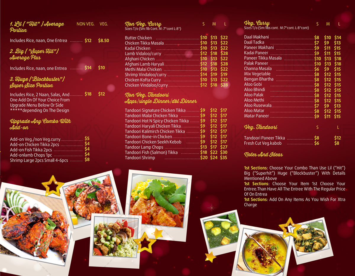 Professional upmarket menu design for india gate inc by