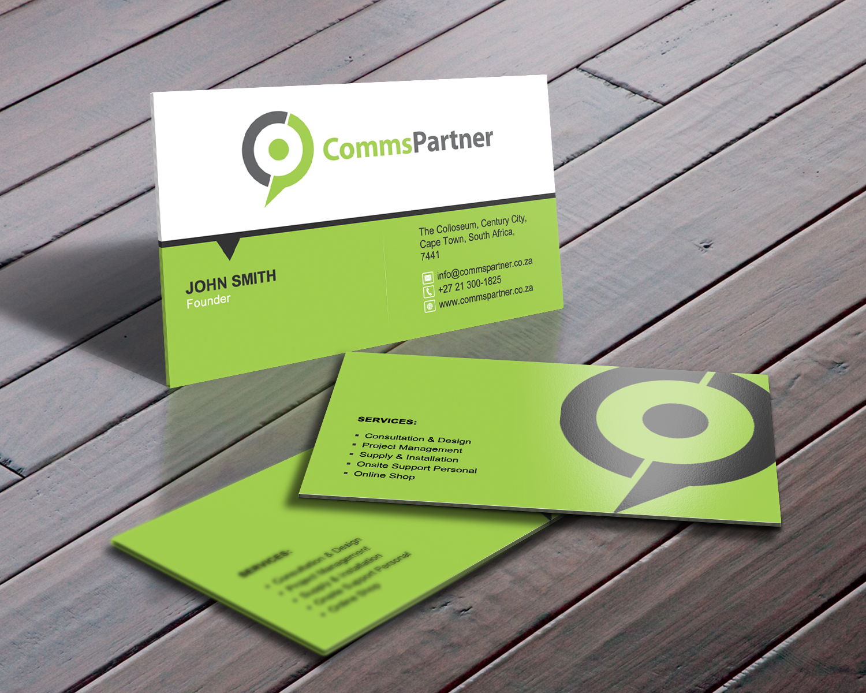 serious modern business card design for comms partner pty ltd