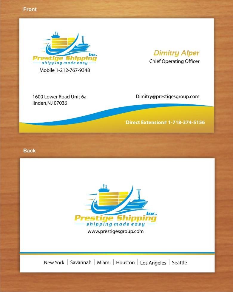 Feminine Upmarket Shipping Business Card Design For Prestige