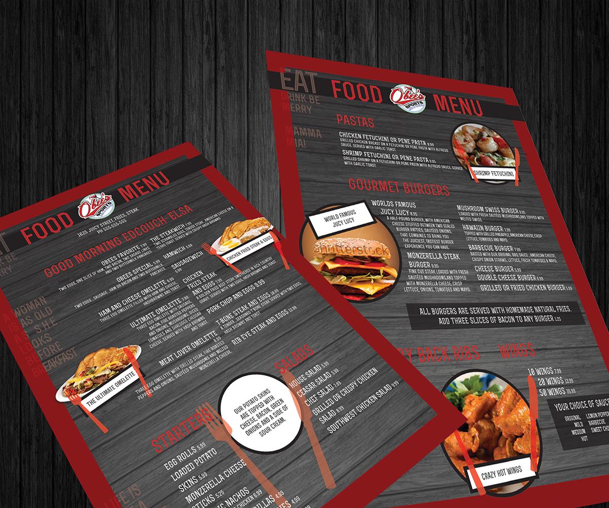 elegant, playful, sports bar menu design for a company by boss
