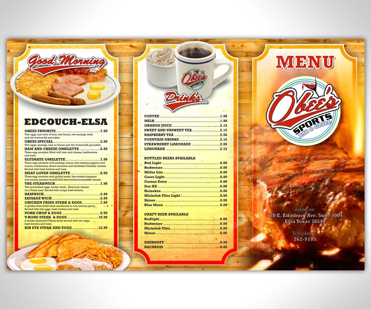 elegant, playful, sports bar menu design for a company by nurmaili