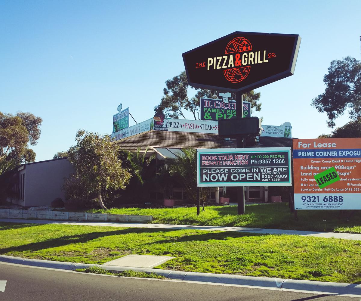 Playful modern restaurant logo design for the pizza