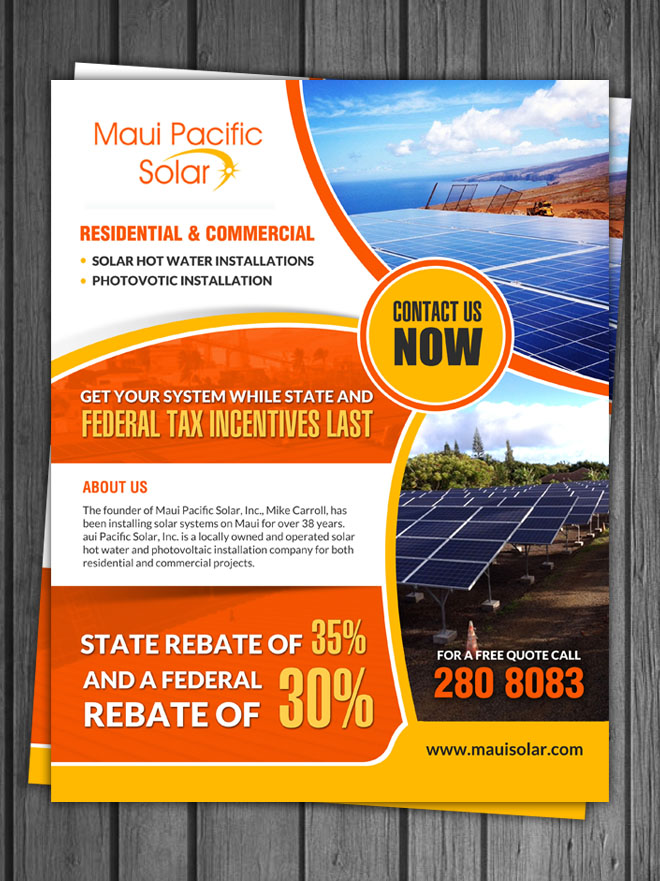 Solar Energy Flyer Design for a Company by debdesign