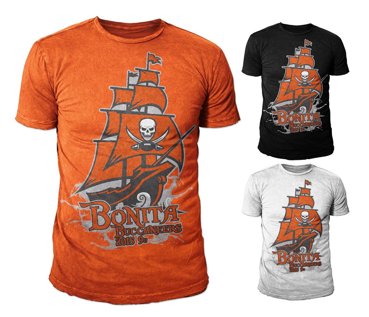 Design t shirt kid - T Shirt Design By Kid Ink For Bonita Buccaneers Youth Football Shirt Design 2015