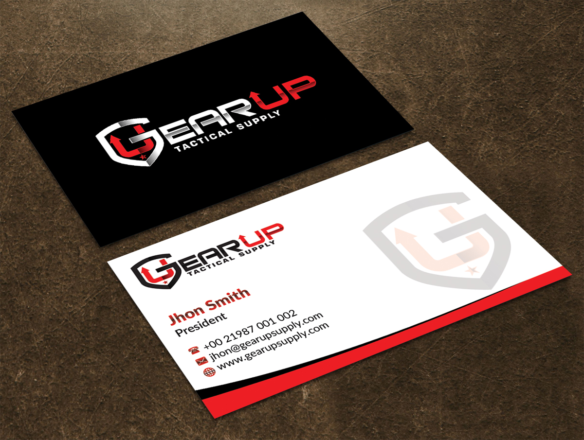 Bold, Masculine Business Card Design for Gear Up Tactical Supply by ...