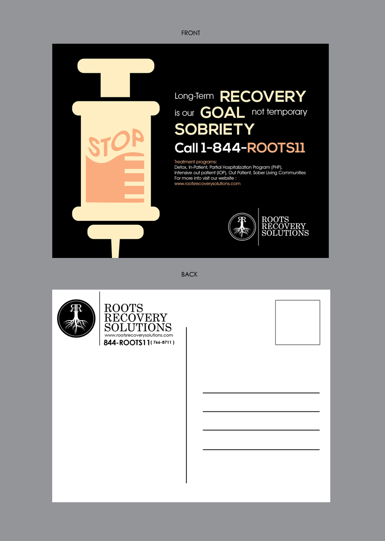 bold serious it company postcard design for roots recovery