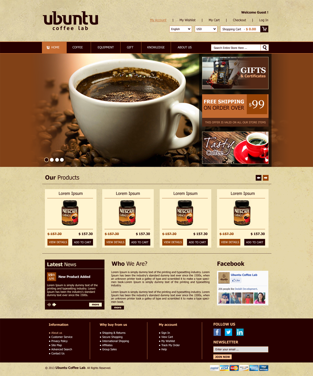 Modern professional web design for my coffee box by roy for Us websites for online shopping