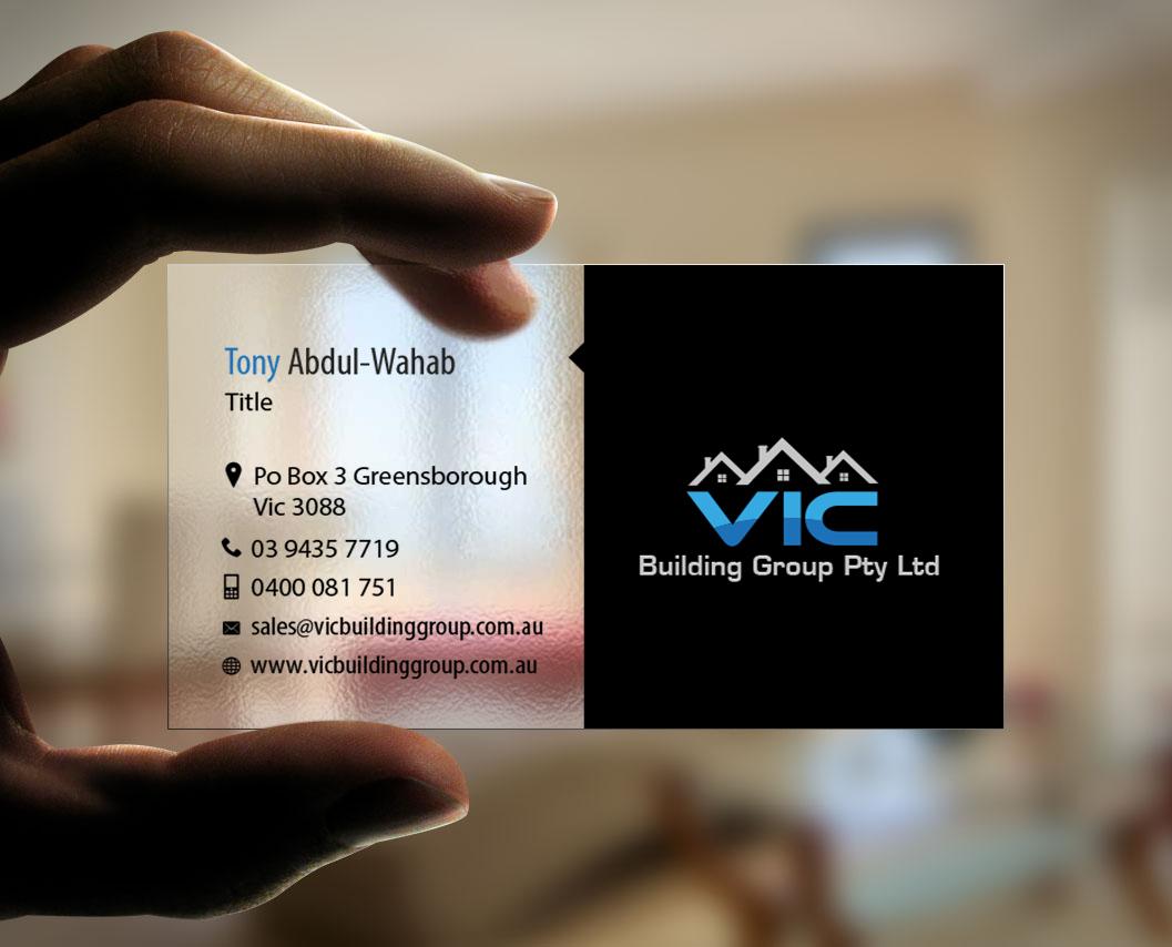 Elegant playful building business card design for vic building business card design by snowymasterdesigns for vic building group pty ltd design 6155740 reheart Choice Image