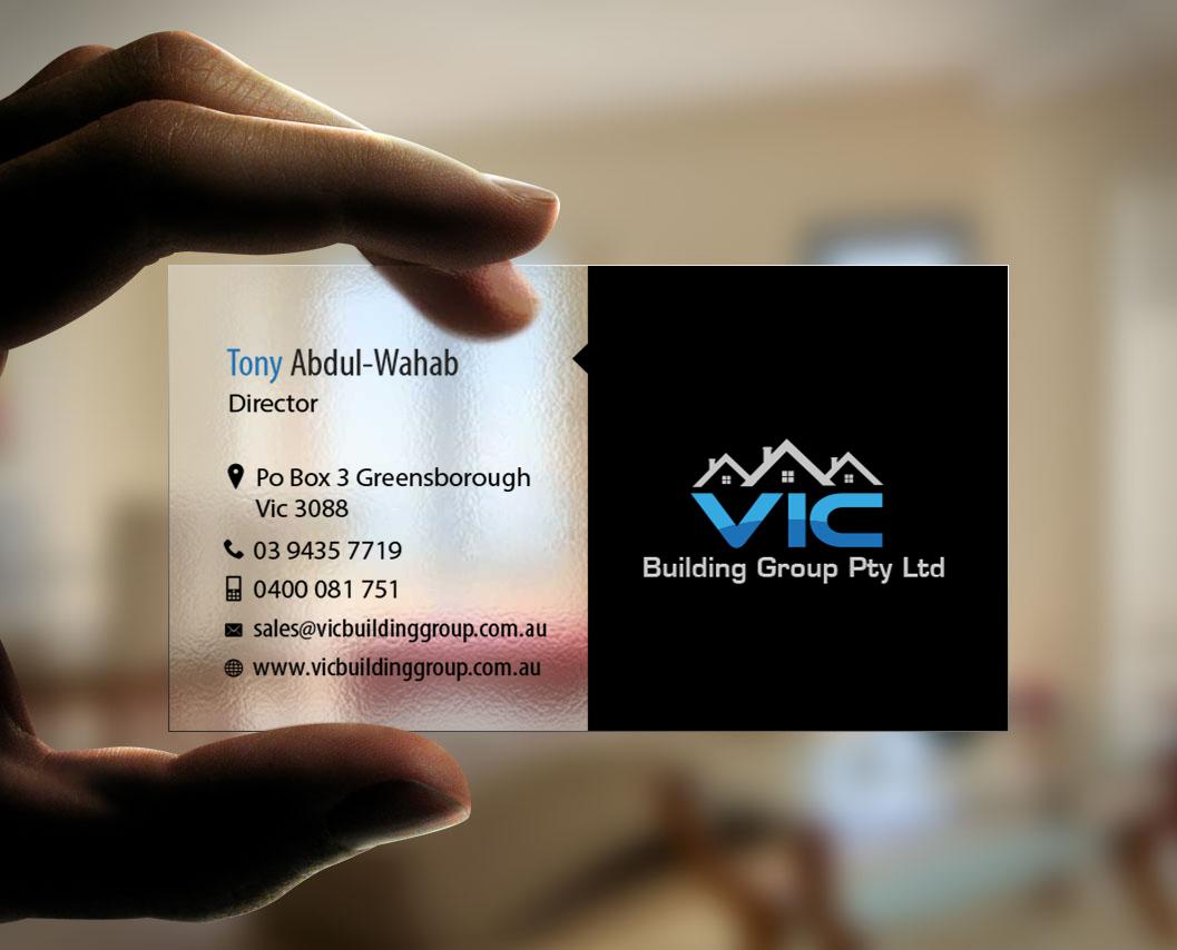 Elegant playful building business card design for vic building business card design by snowymasterdesigns for vic building group pty ltd design 6155782 reheart Images