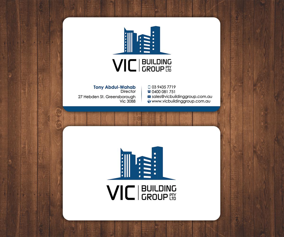 Elegant playful building business card design for vic building business card design by stylez designz for vic building group pty ltd design 6169233 reheart Choice Image