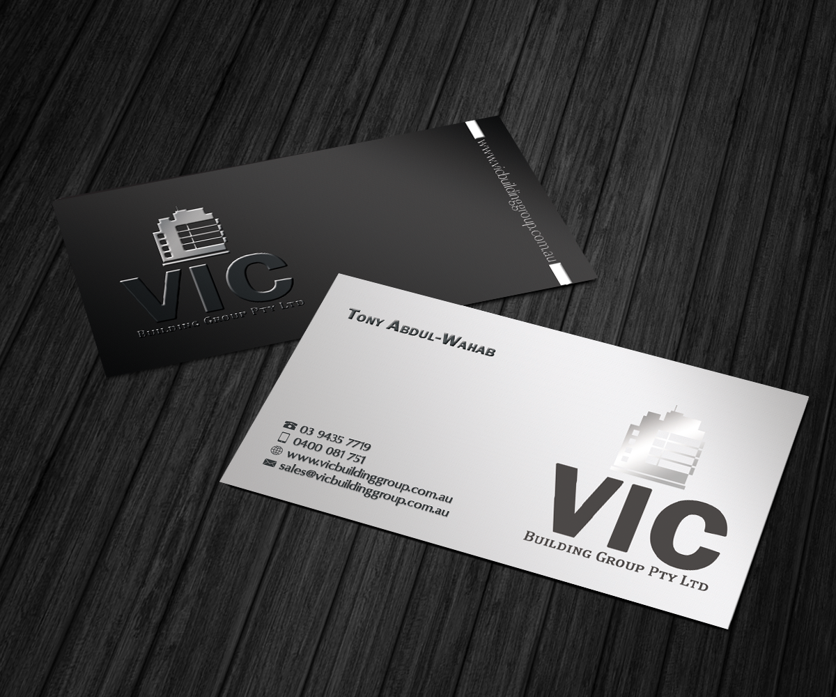Elegante juguet n business card design for vic building for Outer space design group pty ltd