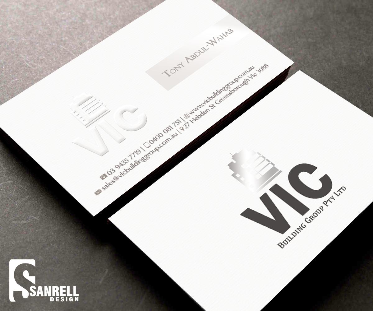 Elegant playful building business card design for vic building business card design by sanrell for vic building group pty ltd design reheart Choice Image