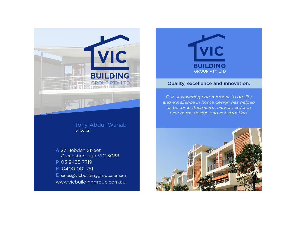 Elegant playful building business card design for vic building business card design by damian royle for vic building group pty ltd design 6159743 reheart Images