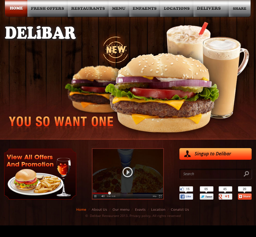 Modern professional fast food restaurant web designs