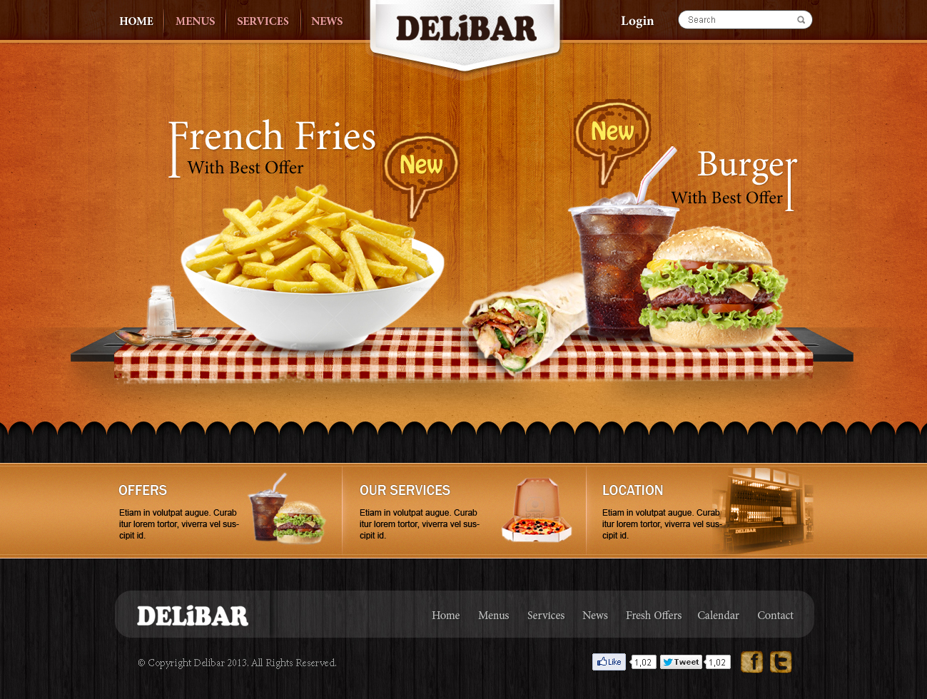 Modern professional fast food restaurant web design for