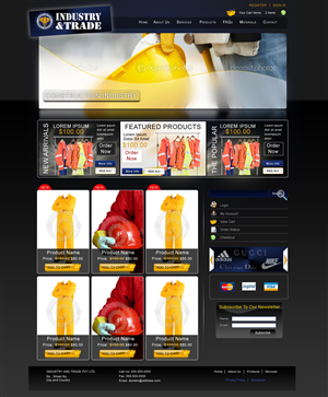 Web Design job – Industry and Trade -may go complete production – Winning design by F Kahn