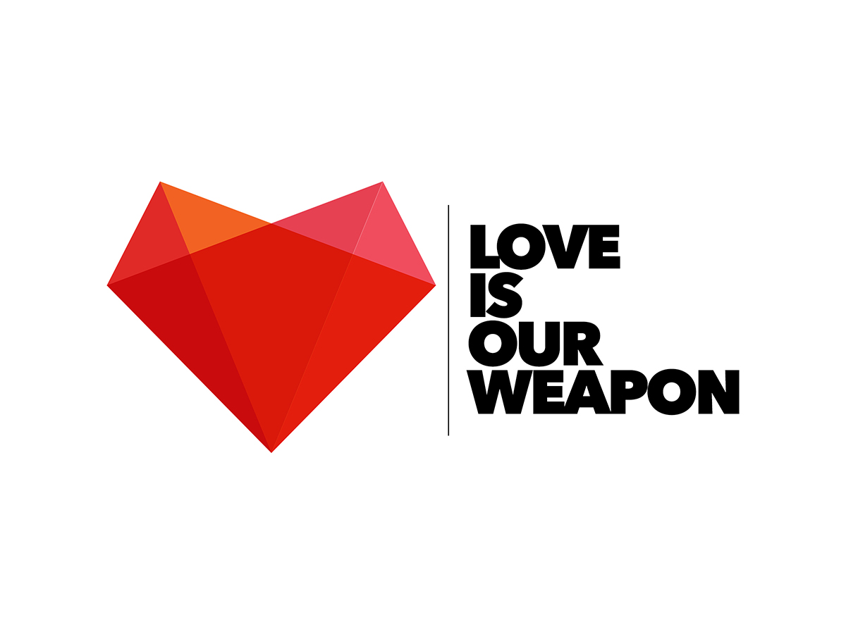 modern, playful, campaign logo design for love is our weapon by