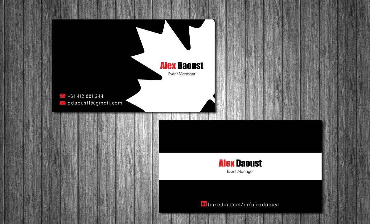 Modern masculine business card design for alex daoust by mt business card design by mt for event manager business card design design 1665812 colourmoves