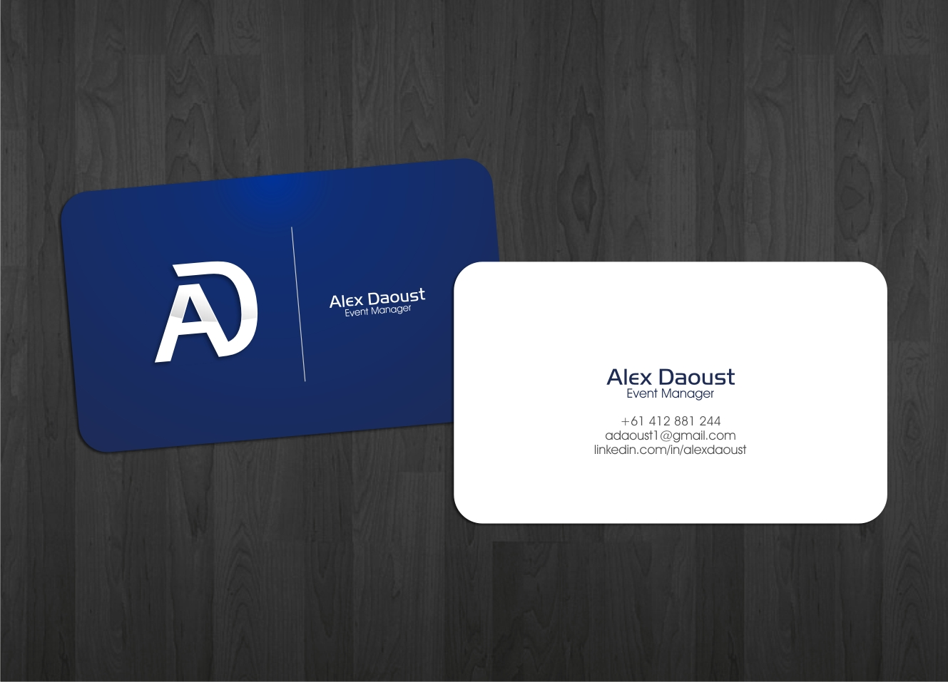 Modern Masculine Business Card Design For Alex Daoust By Momo57