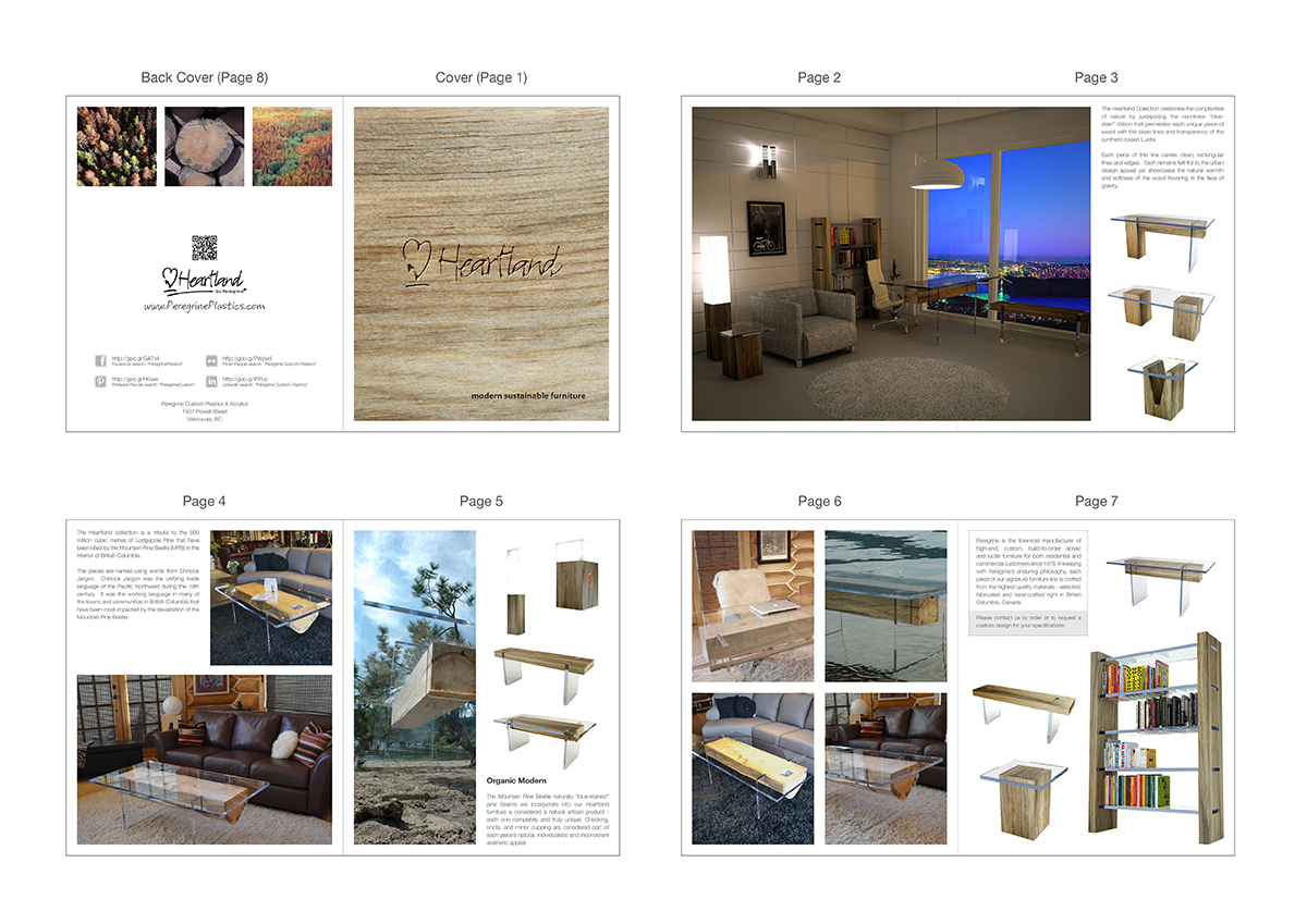 Elegant modern brochure design for peregrine custom for Furniture catalogue