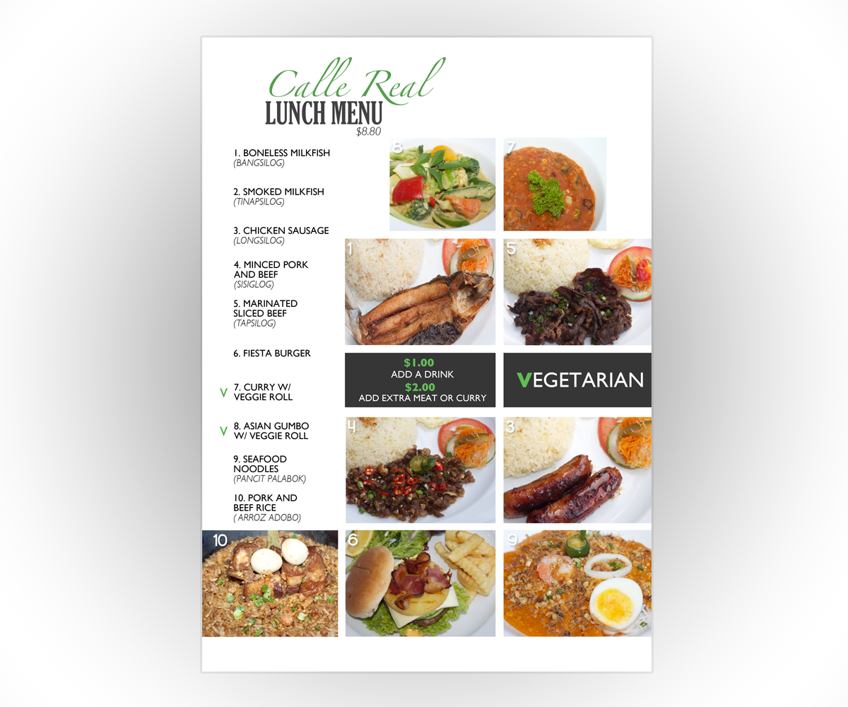 Professional modern restaurant menu design for a company