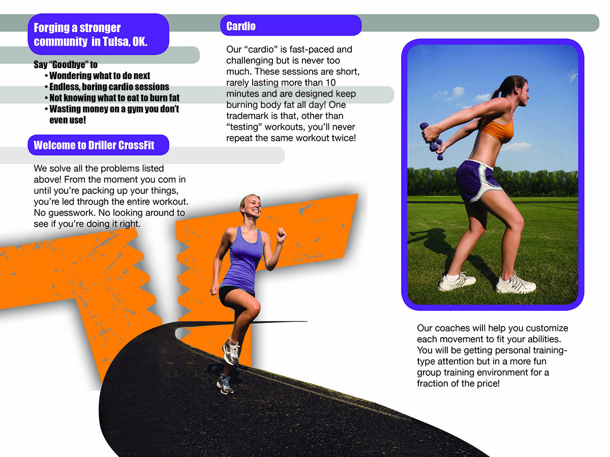 Personable feminine fitness brochure design for driller for Brochure design austin