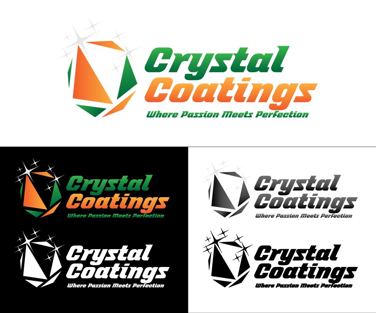 Playful Modern Concrete Logo Design For Crystal Coatings