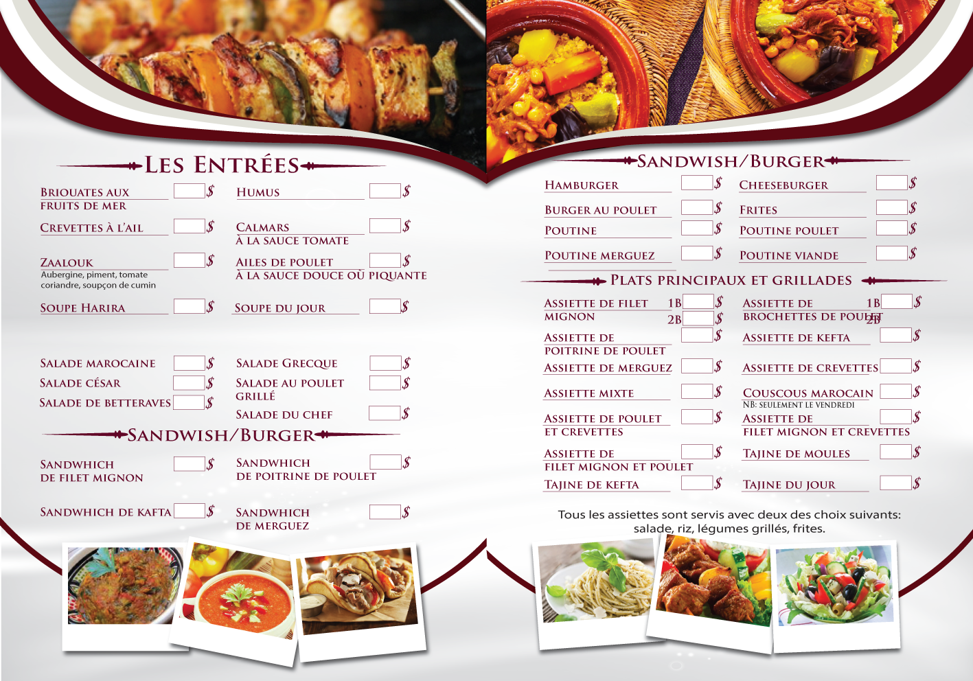 7 serious elegant menu designs for a business in canada for Mediterranean food menu