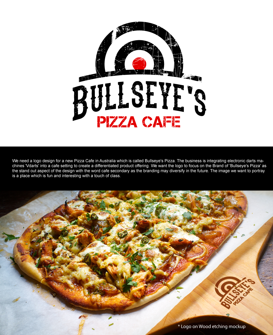 bold modern cafe logo design for bullseye s pizza cafe by