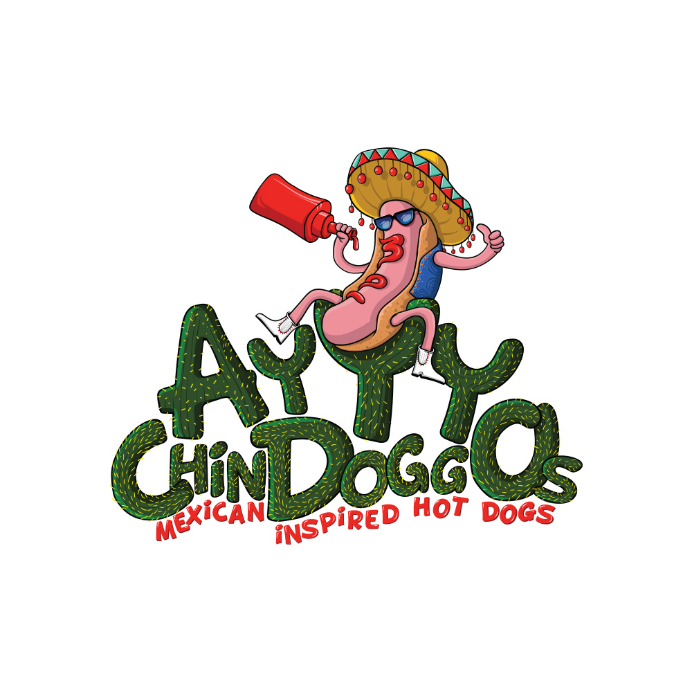 Colorful playful logo design for ayyy chindoggos by adi for Mexican logos images