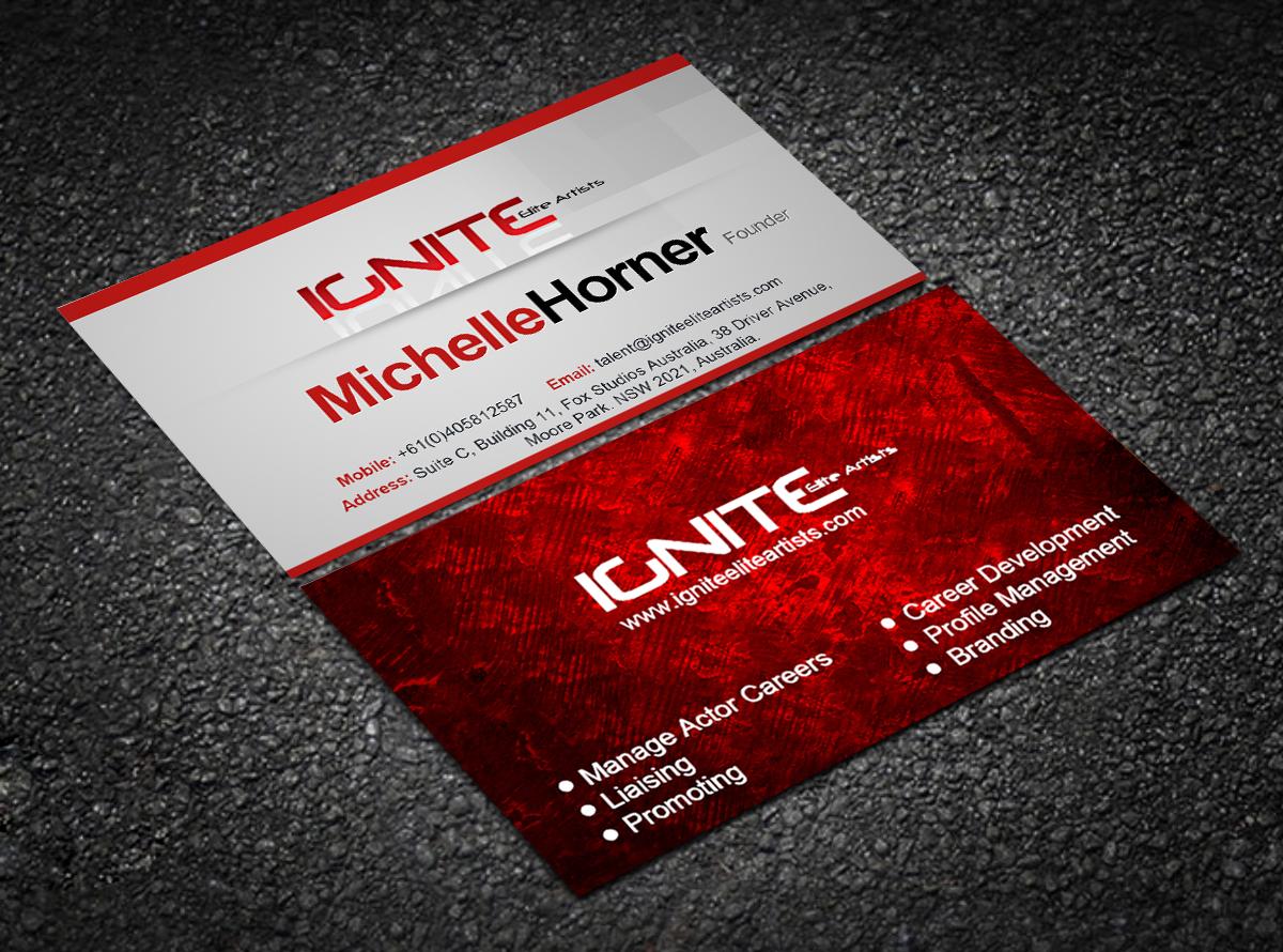 Modern upmarket business card design for ignite elite artists by business card design by sheetalkatkar26 for top international talent management needs creative business card design magicingreecefo Choice Image